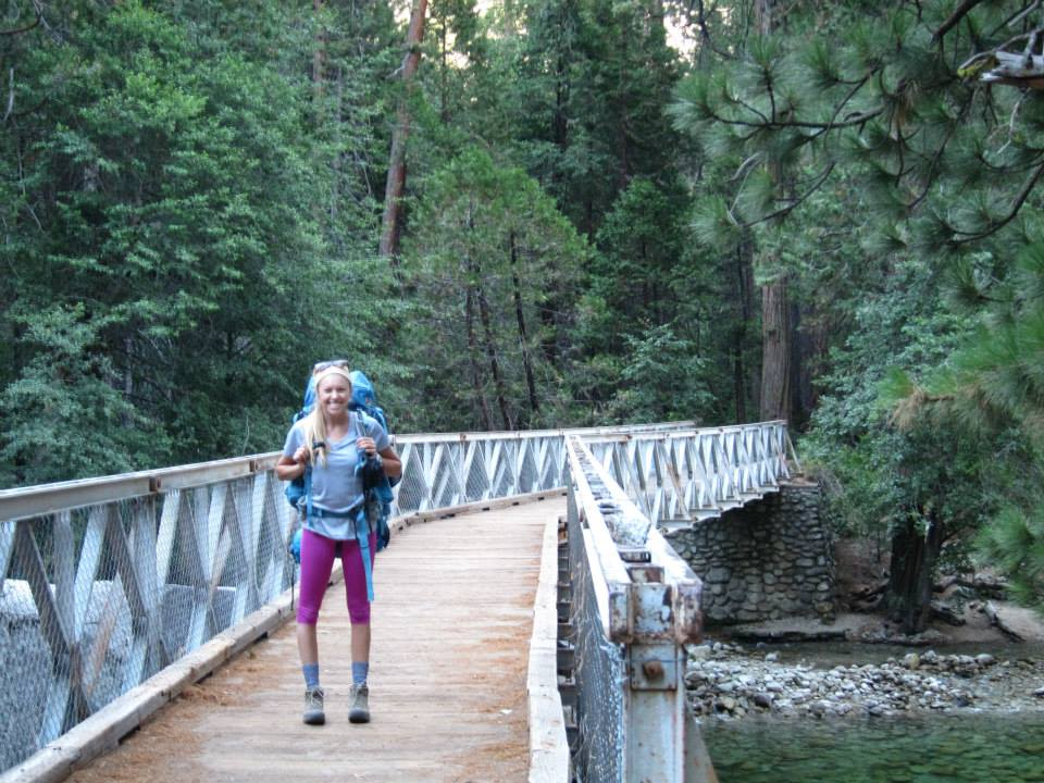 Girl on a Bridge on the Rae Lakes Loop Trail