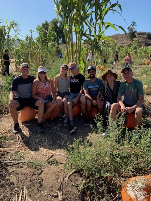 Family in the pumpkin patch