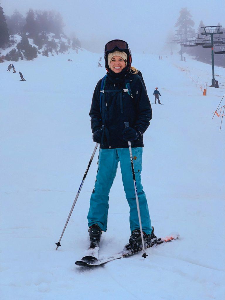 Girl skiing in Big Bear