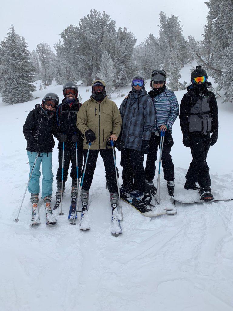 Family ski and snowboard trip
