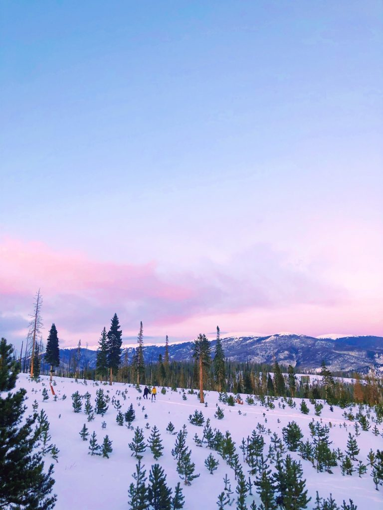 Sunset in the snowy hills