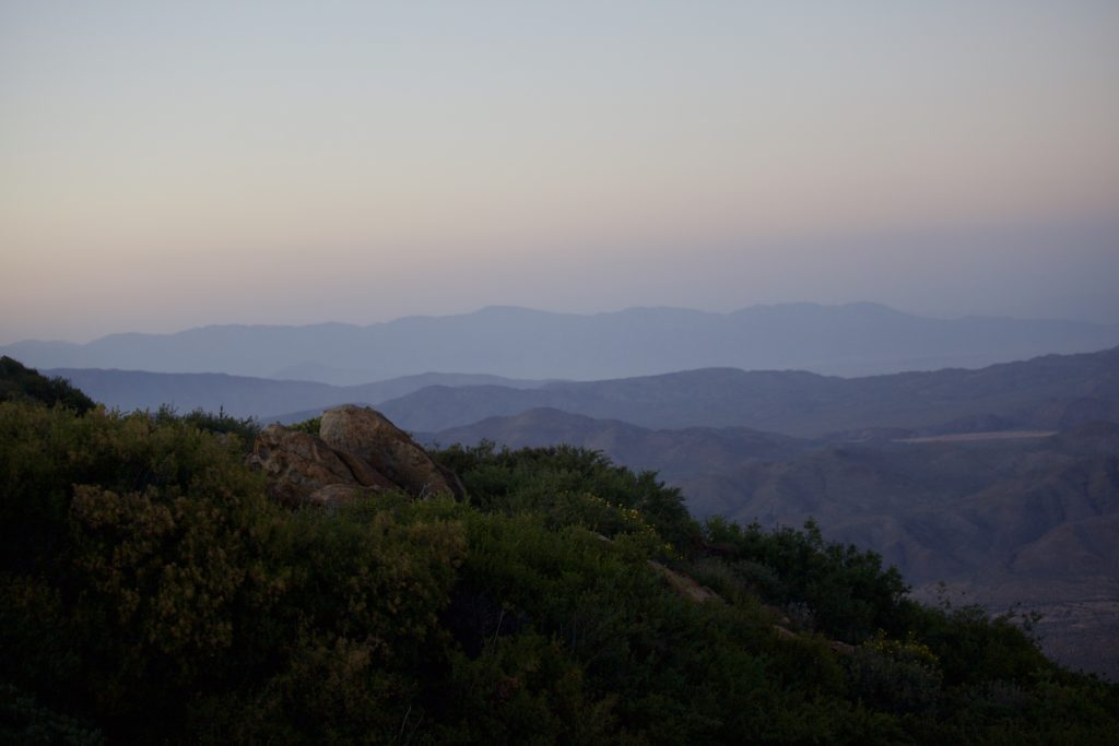San Diego sunset views from sunrise highway in Laguna Mountains