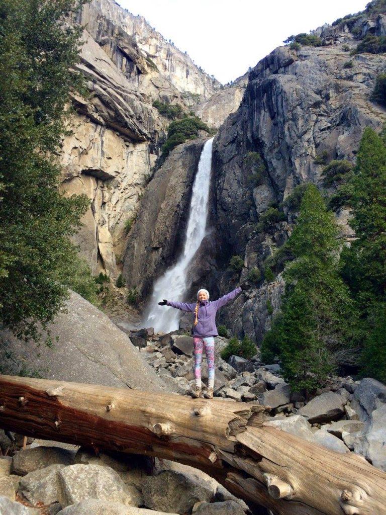 Waterfall hike in Yosemite on a backpacking trip