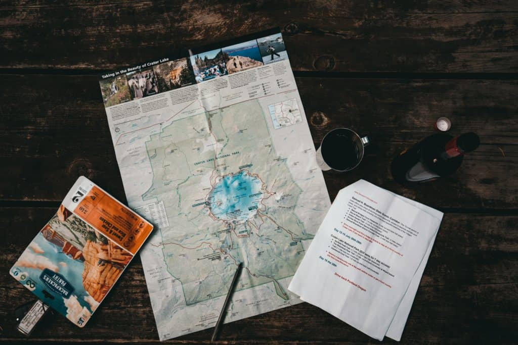 compass and map for backpacking