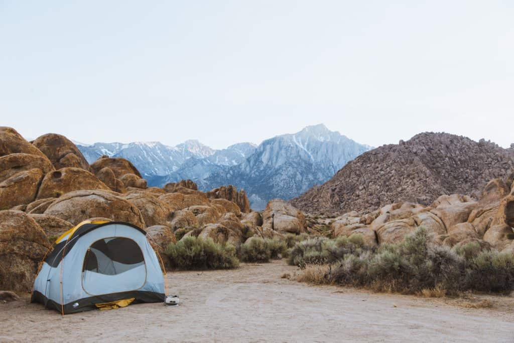 Tent with views of Alabama HIlls