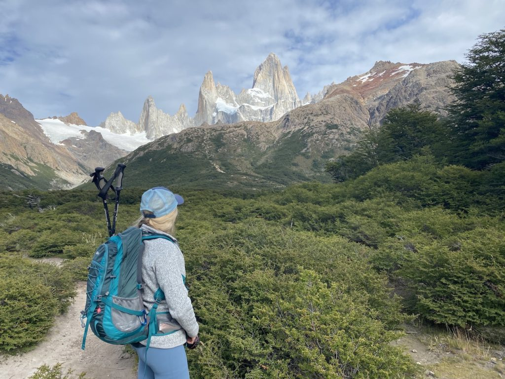 Hiking bag and trekking poles for Patagonia