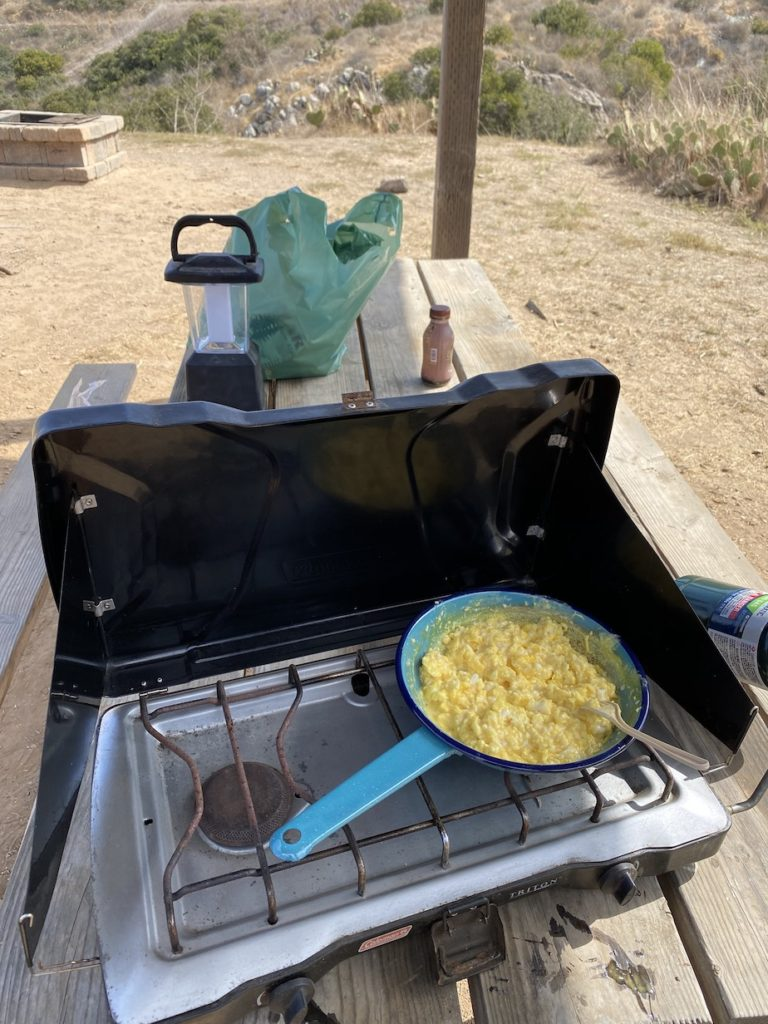 Scrambled eggs at the campground in Two Harbors on Catalina Island