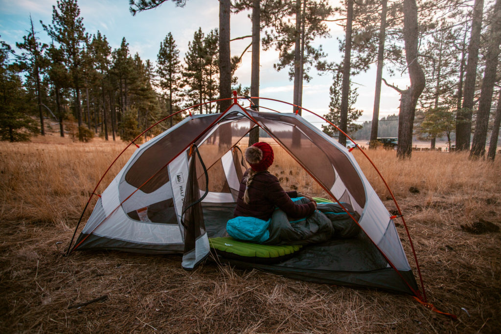 One of the best cold weather camping tips is to place your tent under trees
