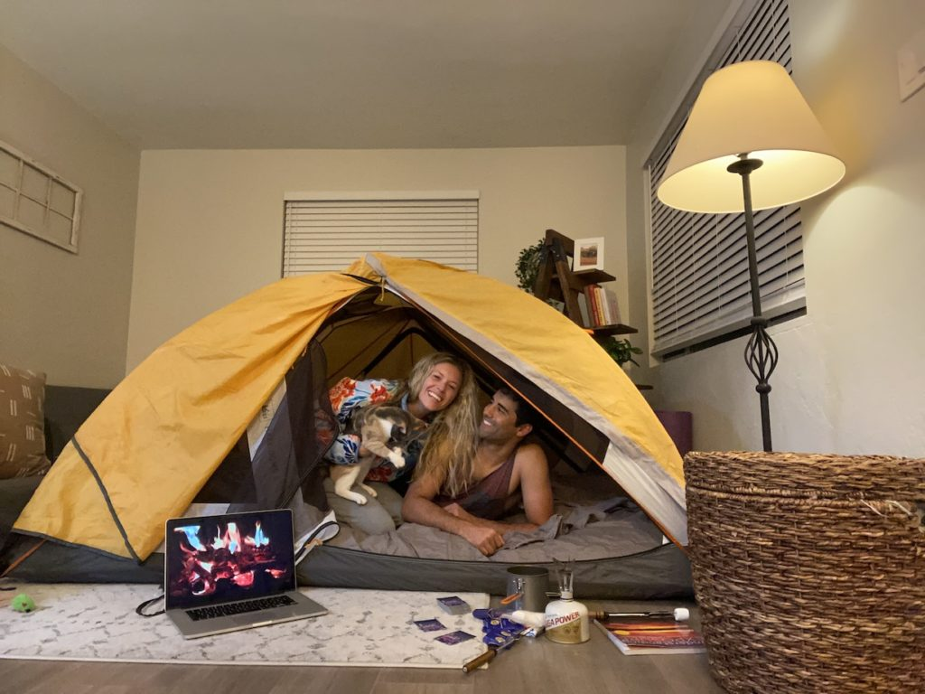 Date night idea: camping in the living room