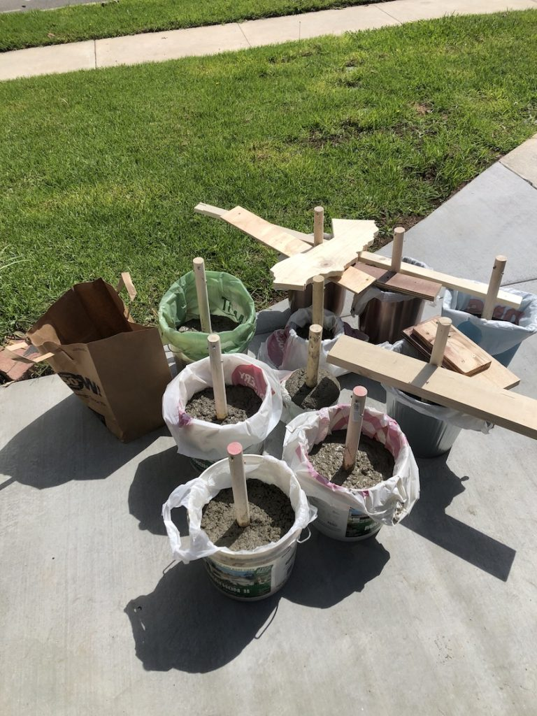 Home made concrete dumbbell