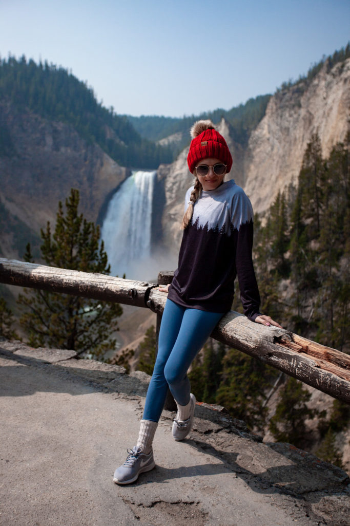 Girl at Artist Point as a part of her Grand Teton and Yellowstone itinerary