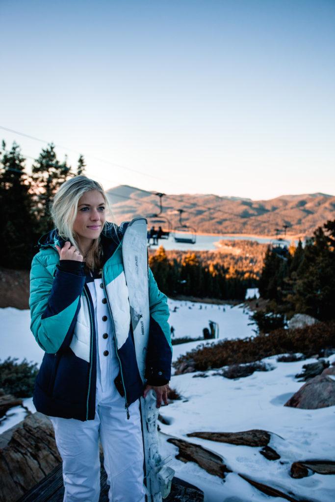 Girl in Big Bear on a winter road trip