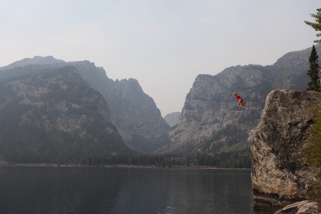 Cliff jump from Phelps Lake in the Grand Tetons