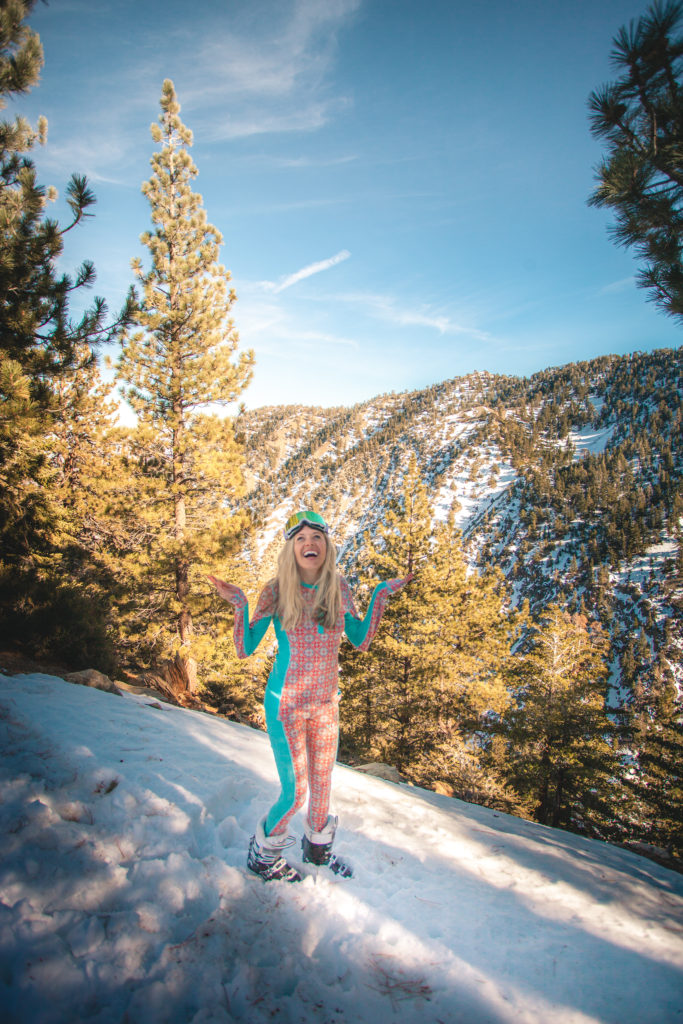 Girl in Kari Traa snow baselayers to help her stay warm as part of her winter road trip from San Diego