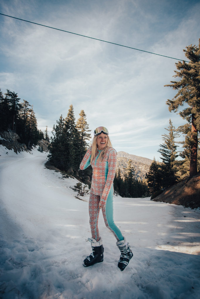 Girl Skiing at Mt Baldy. Mt. Baldy has some of the nearest snow to San Diego