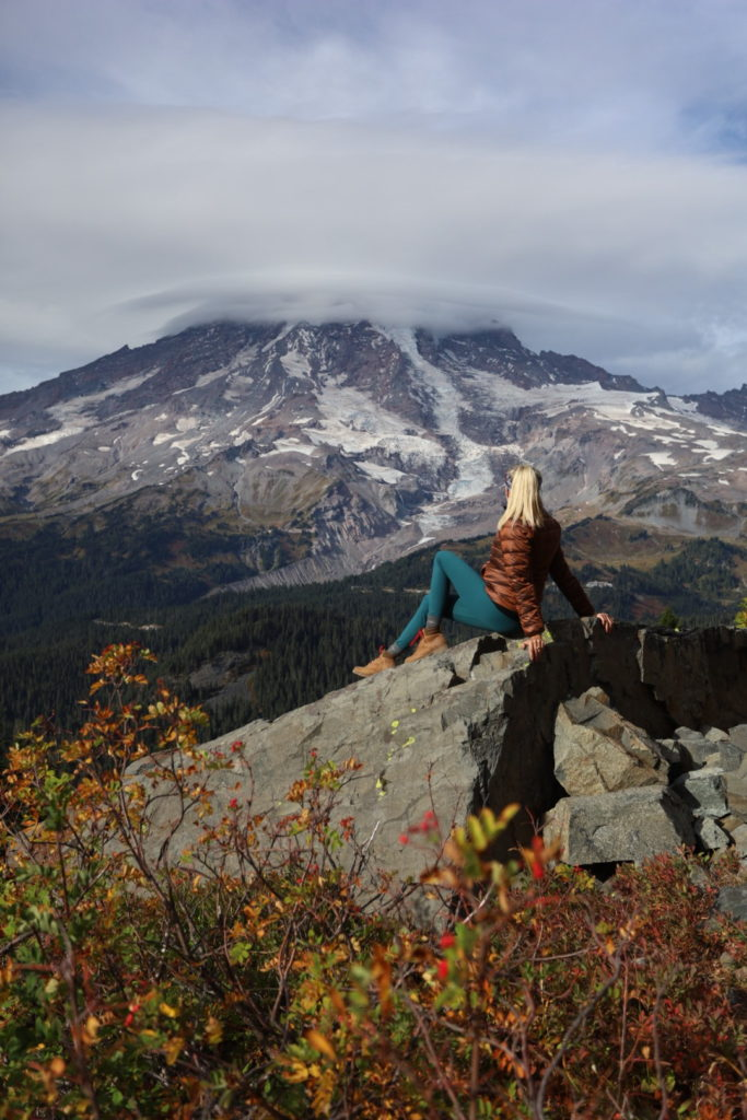 Girl first time hiking at Mt. Ranier National Park
