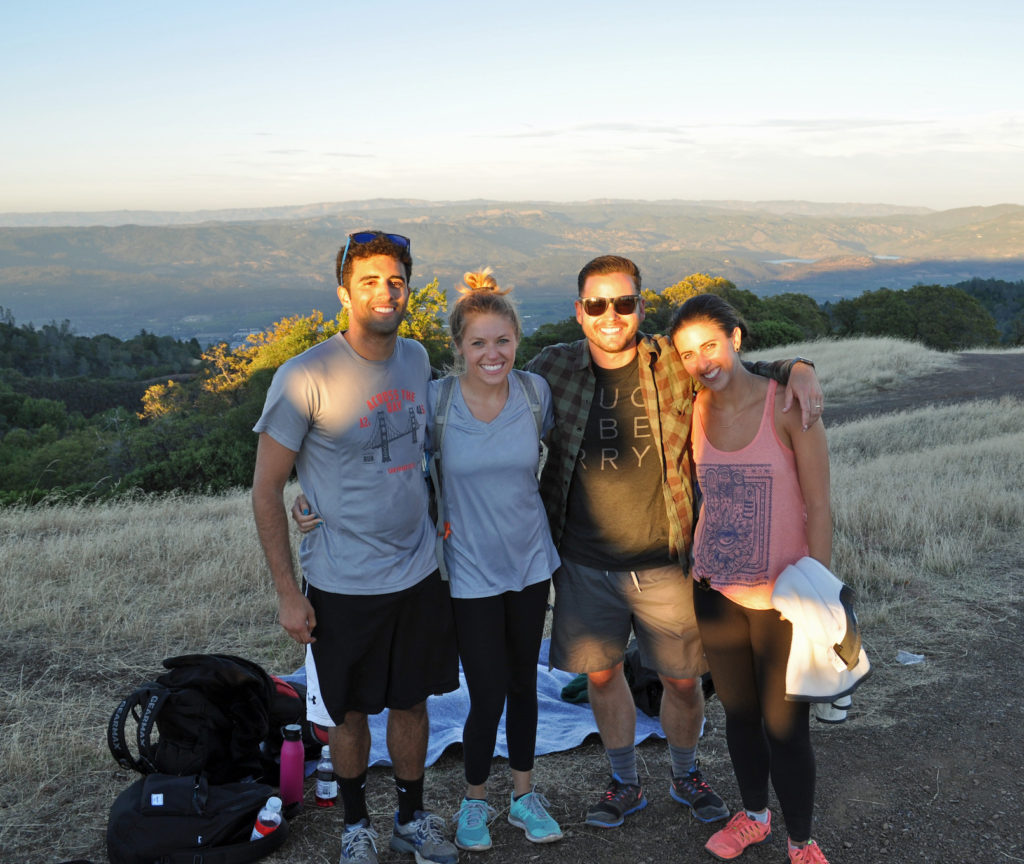Family of four on top of Sugarloaf Ridge which is one of the best hikes in the San Francisco area