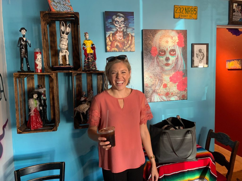 Girl at Dia Del Cafe in San Diego. A hispanic inspired coffee shop