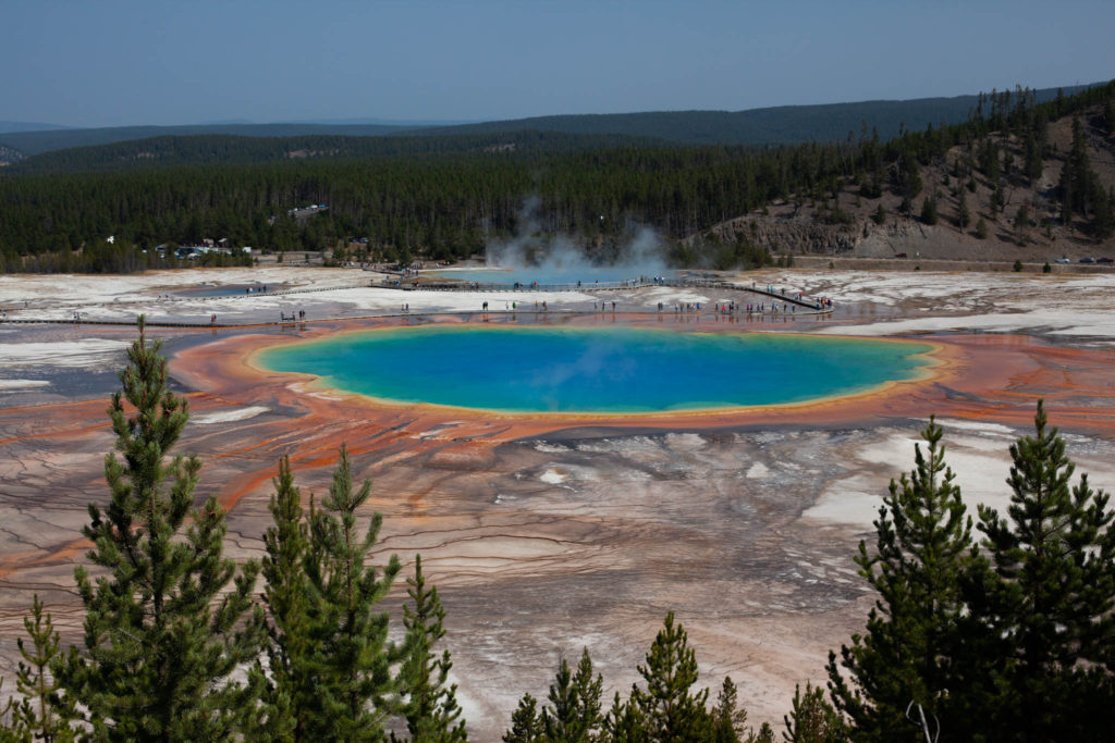The Grand Prismatic Overlook is a great place to add to your Grand Teton and Yellowstone itinerary