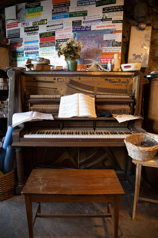 Piano with music sheets