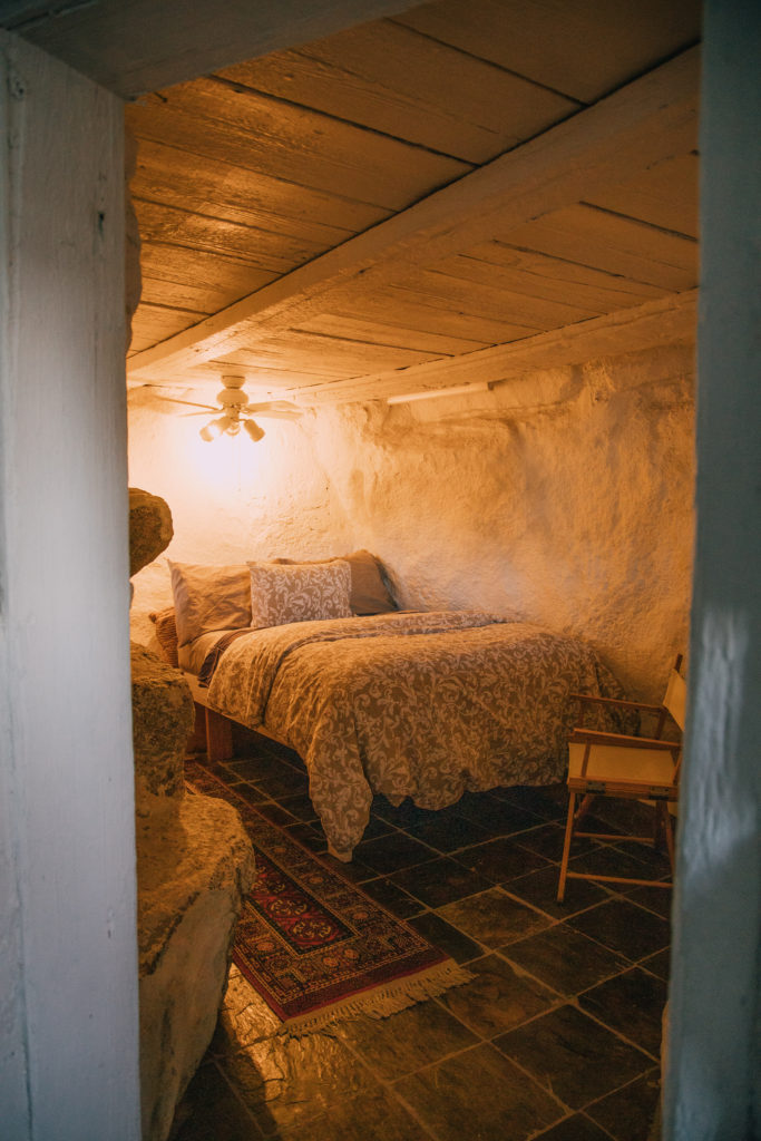 Bedroom inside the guest cabin at the desert view tower