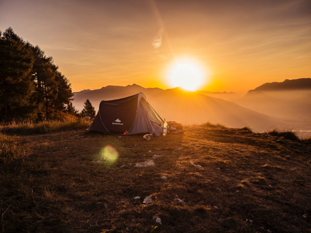 Tent camping at sunset