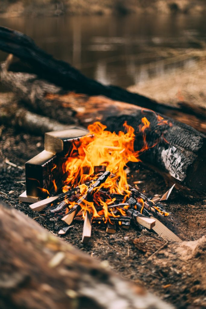 Fire burning at a campsite
