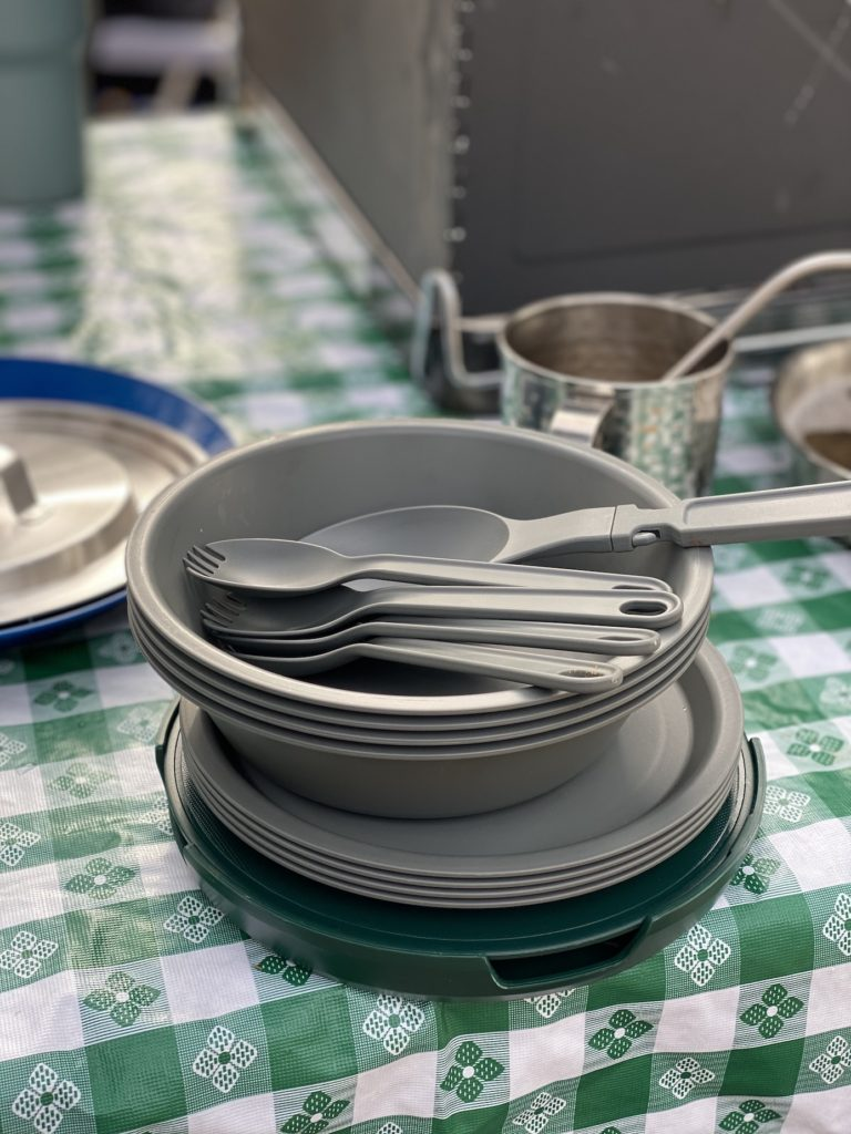 Portable camp dishes which is an essential camping gear item