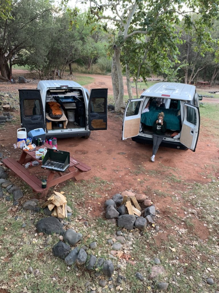 Campervans at campground in Sedona which is a great way to make your Sedona trip affordable