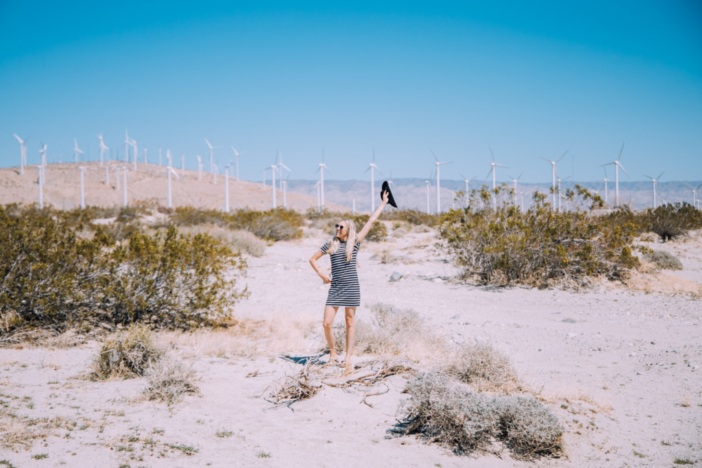 Girl standing in the Windmill Farm outside of Palm Springs