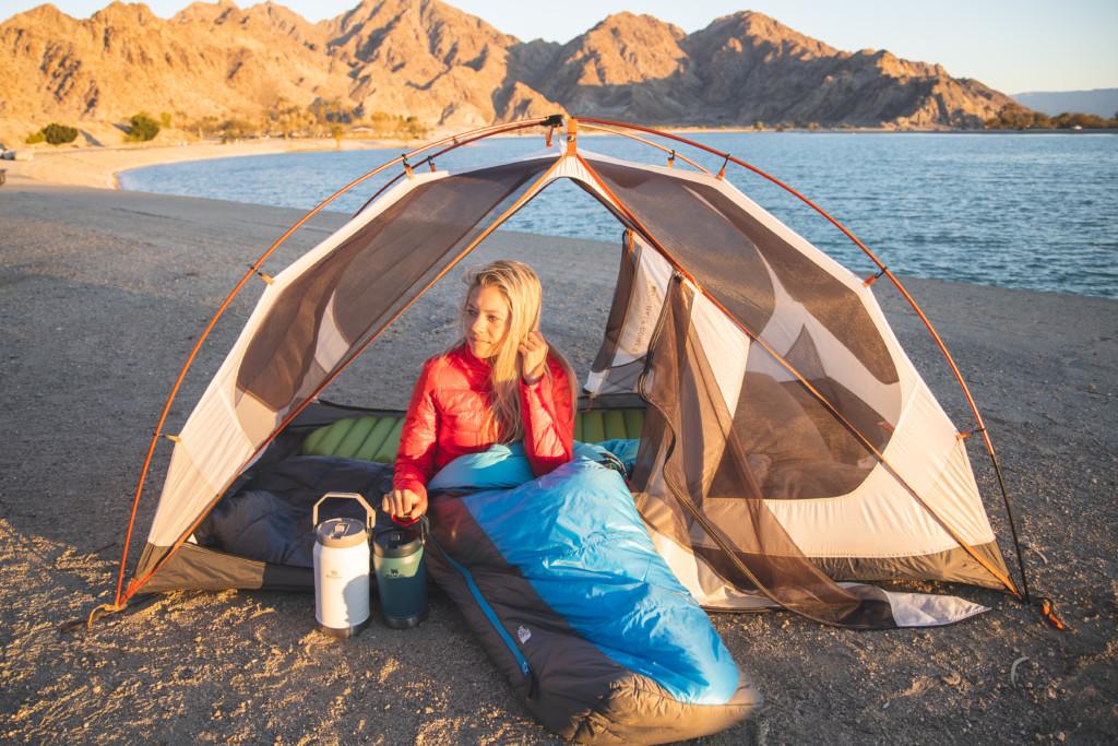 Girl camping at Lake Cahuilla near Palm Springs