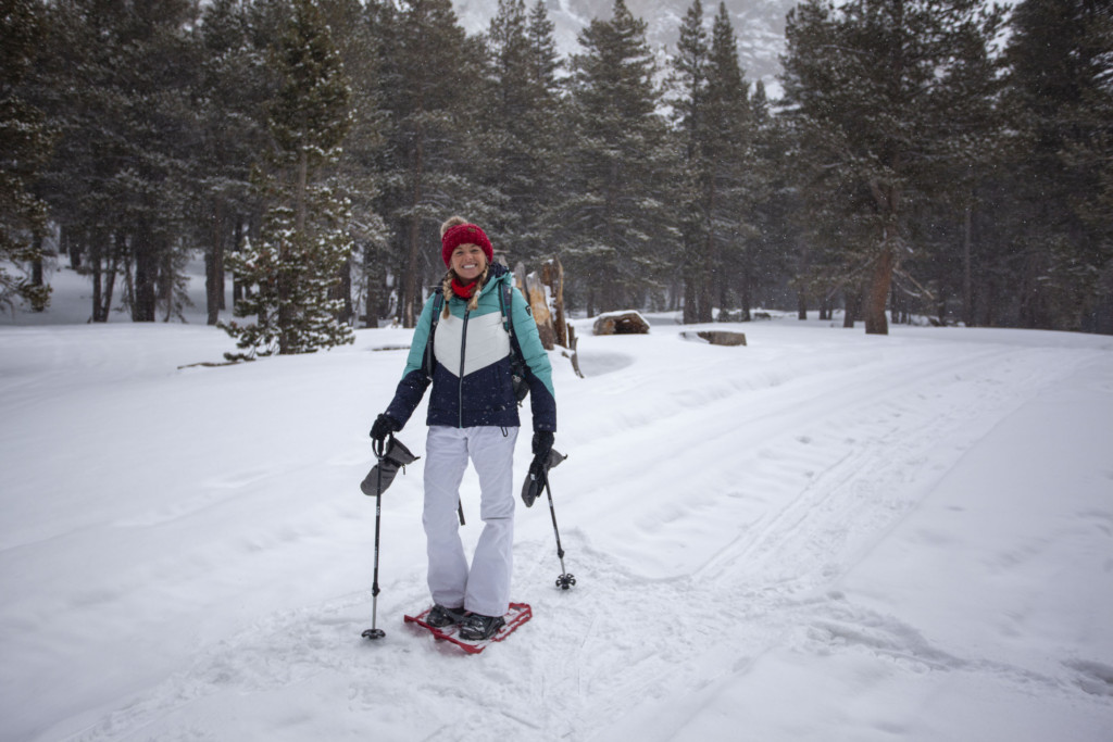 Girl snowshoeing in Mammoth Mountain area