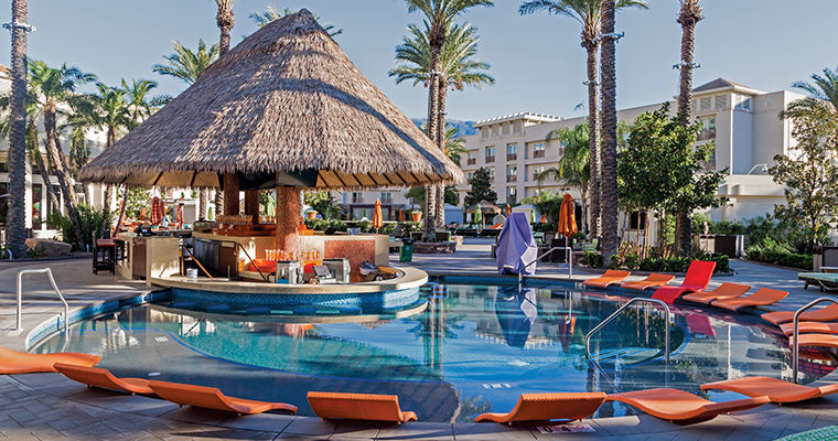 One of the best pools in San Diego is at the Harrah's Resort which is pictured here