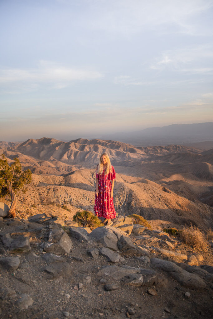 Chelsey at Keys View in Joshua Tree which is a must see spot at sunset time