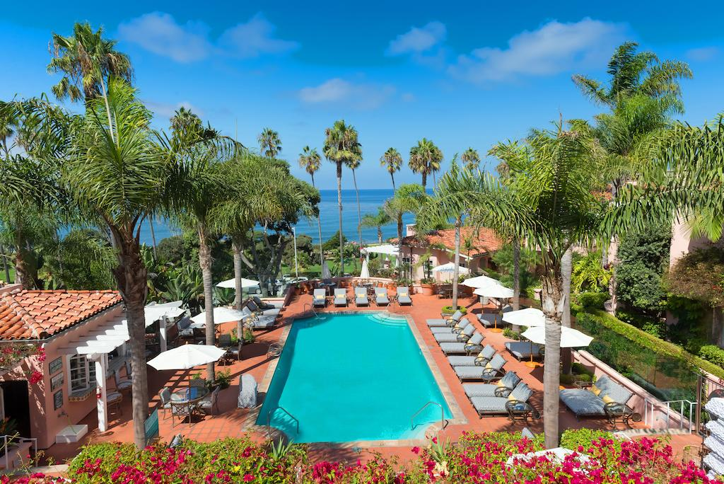 La Valencia Hotel pool with views of the ocean which is one of the most gorgeous hotel pools in San Diego