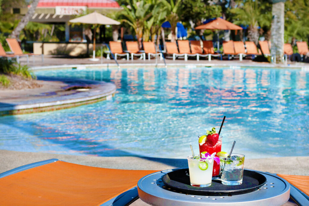 Fruity drinks in front of Paradise Point Hotel Pool