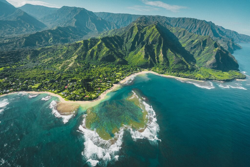 Ariel view of Kauai which makes for a great Fall vacation spot